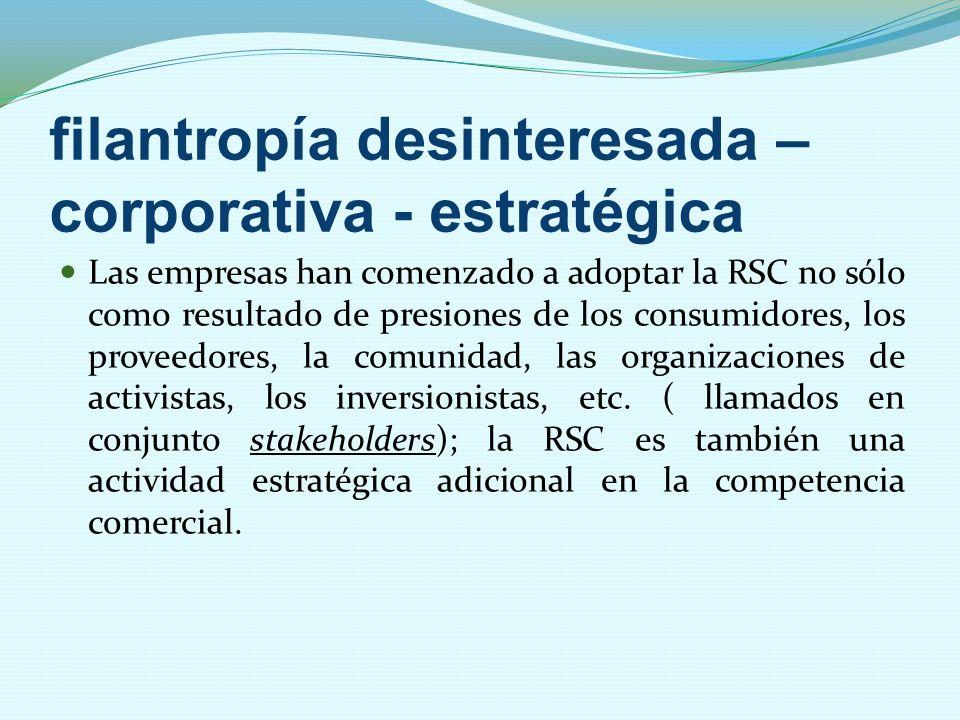 filantropía desinteresada – corporativa - estratégica Las empresas han comenzado a adoptar la RSC no sólo como resultado de presiones de los consumido