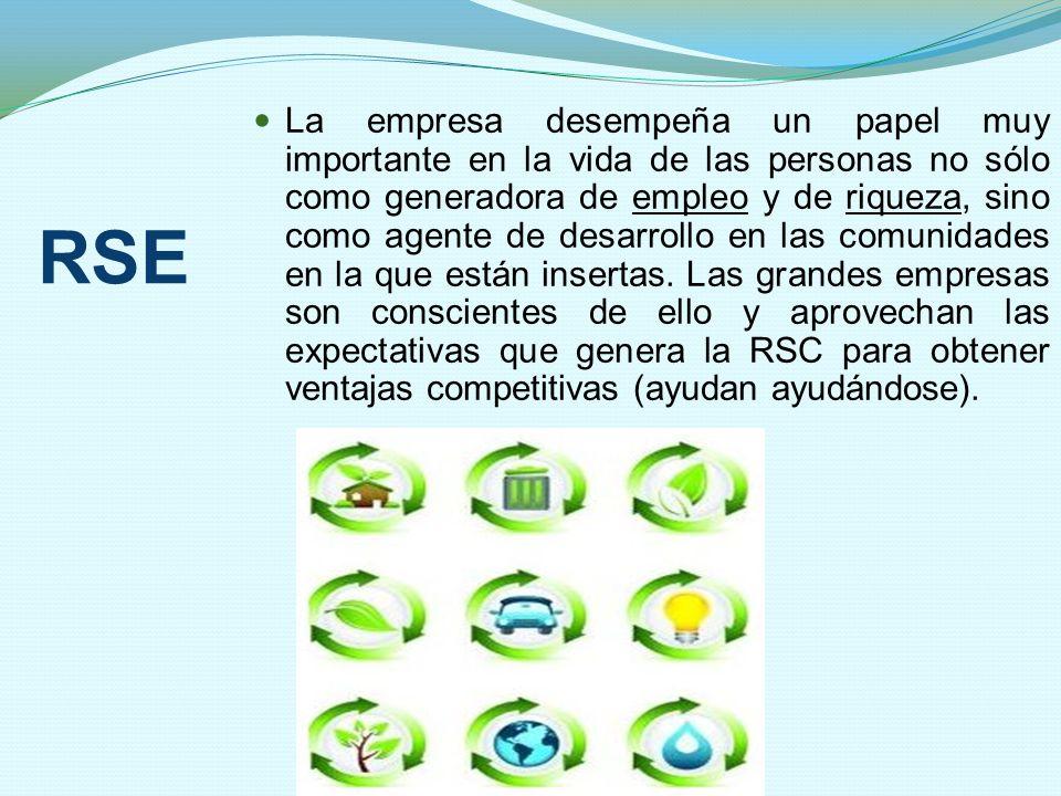 RSE La empresa desempeña un papel muy importante en la vida de las personas no sólo como generadora de empleo y de riqueza, sino como agente de desarr