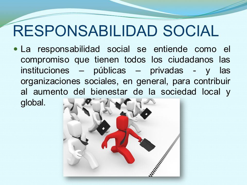 RESPONSABILIDAD SOCIAL La responsabilidad social se entiende como el compromiso que tienen todos los ciudadanos las instituciones – públicas – privada