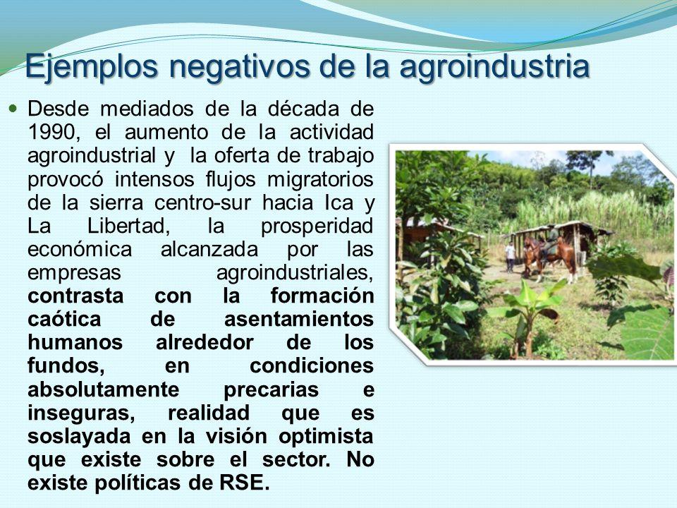 Ejemplos negativos de la agroindustria Desde mediados de la década de 1990, el aumento de la actividad agroindustrial y la oferta de trabajo provocó i