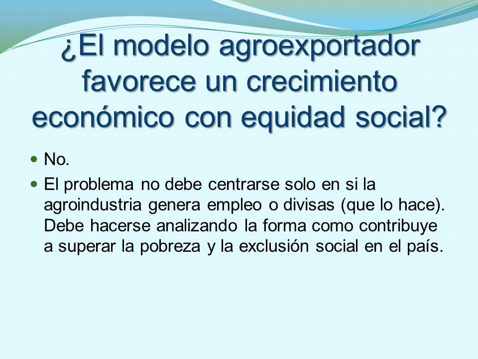 ¿El modelo agroexportador favorece un crecimiento económico con equidad social? No. El problema no debe centrarse solo en si la agroindustria genera e