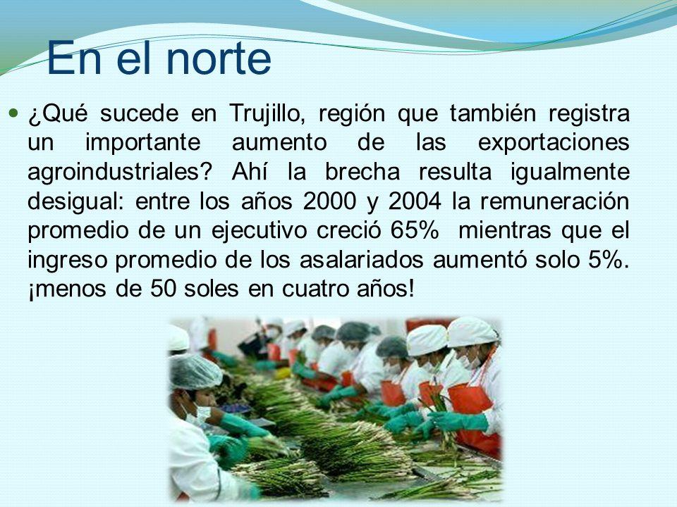 En el norte ¿Qué sucede en Trujillo, región que también registra un importante aumento de las exportaciones agroindustriales? Ahí la brecha resulta ig