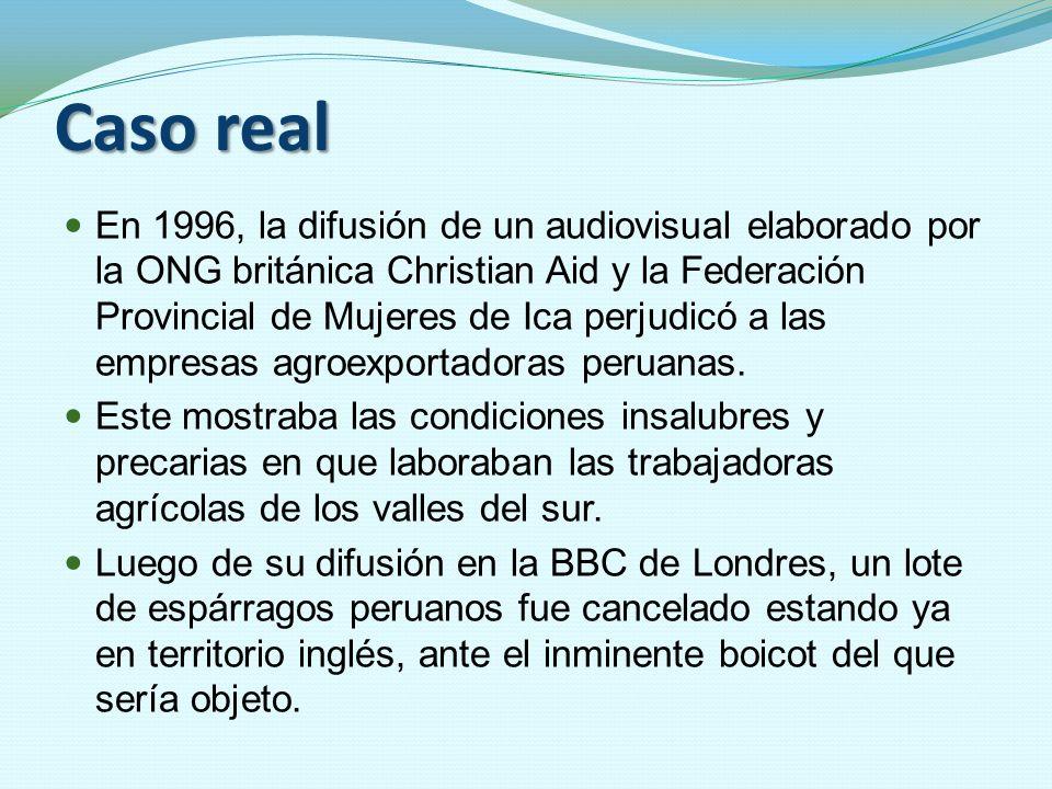 Caso real En 1996, la difusión de un audiovisual elaborado por la ONG británica Christian Aid y la Federación Provincial de Mujeres de Ica perjudicó a