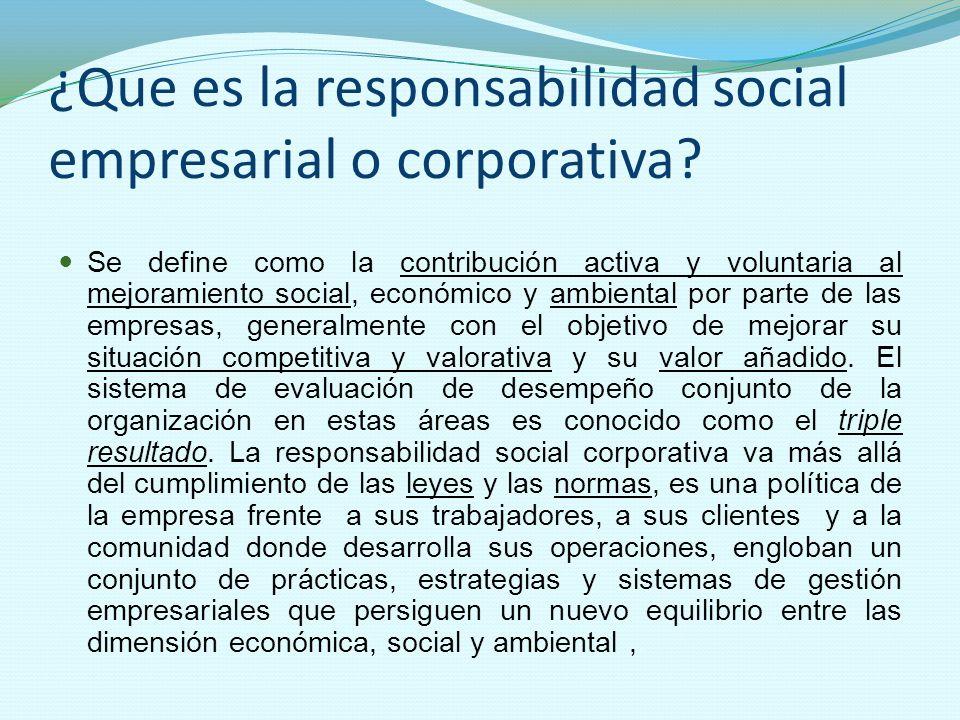 ¿Que es la responsabilidad social empresarial o corporativa? Se define como la contribución activa y voluntaria al mejoramiento social, económico y am
