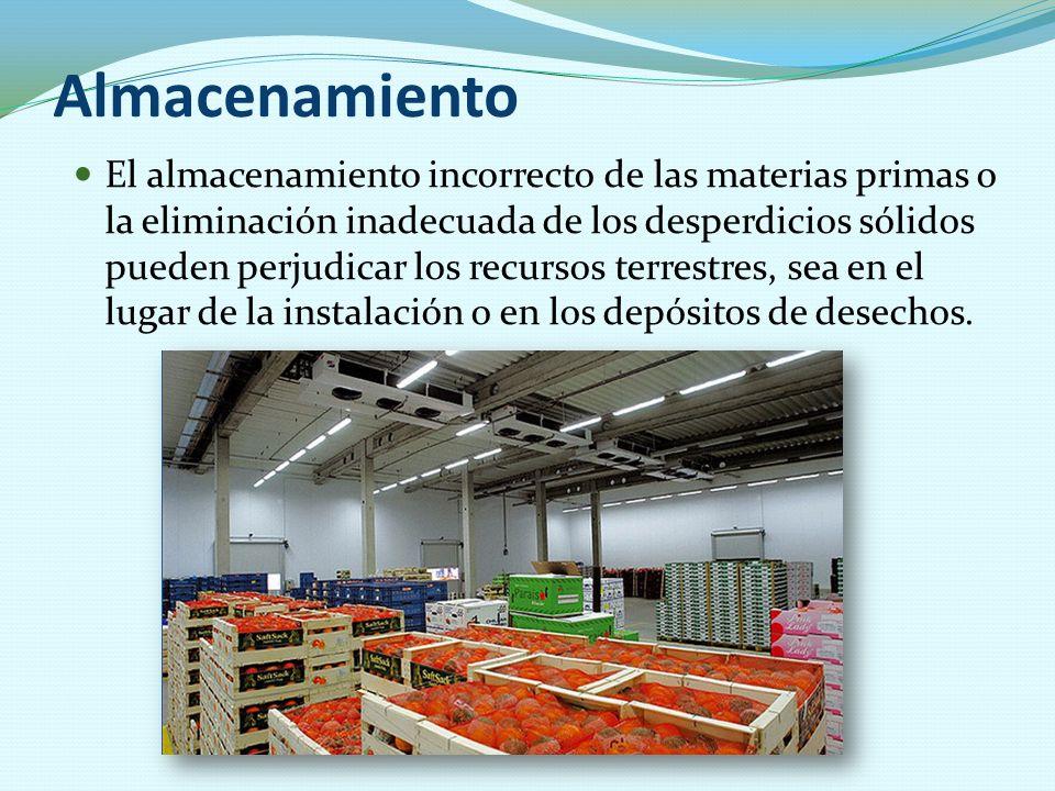 Almacenamiento El almacenamiento incorrecto de las materias primas o la eliminación inadecuada de los desperdicios sólidos pueden perjudicar los recur