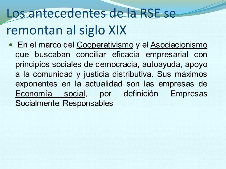 Los antecedentes de la RSE se remontan al siglo XIX En el marco del Cooperativismo y el Asociacionismo que buscaban conciliar eficacia empresarial con