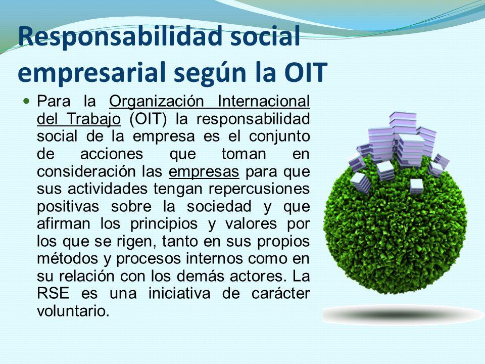 Responsabilidad social empresarial según la OIT Para la Organización Internacional del Trabajo (OIT) la responsabilidad social de la empresa es el con