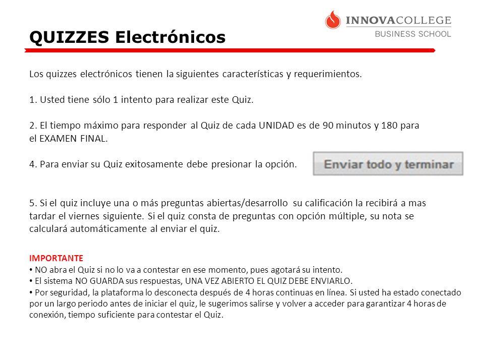 QUIZZES Electrónicos Los quizzes electrónicos tienen la siguientes características y requerimientos. 1. Usted tiene sólo 1 intento para realizar este