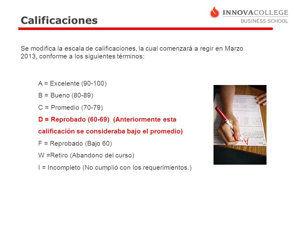 Calificaciones Se modifica la escala de calificaciones, la cual comenzará a regir en Marzo 2013, conforme a los siguientes términos: A = Excelente (90-100) B = Bueno (80-89) C = Promedio (70-79) D = Reprobado (60-69) (Anteriormente esta calificación se consideraba bajo el promedio) F = Reprobado (Bajo 60) W =Retiro (Abandono del curso) I = Incompleto (No cumplió con los requerimientos.)
