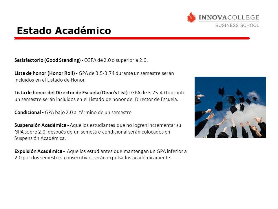 Estado Académico Satisfactorio (Good Standing) - CGPA de 2.0 o superior a 2.0. Lista de honor (Honor Roll) - GPA de 3.5-3.74 durante un semestre serán