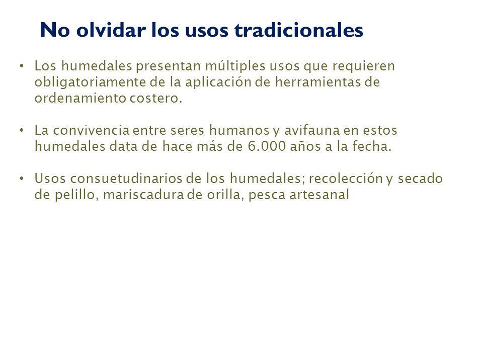 Los humedales presentan múltiples usos que requieren obligatoriamente de la aplicación de herramientas de ordenamiento costero. La convivencia entre s