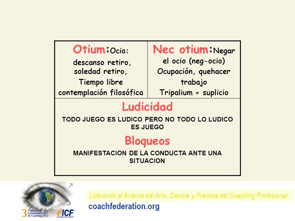Liderando el Avance del Arte, Ciencia y Práctica del Coaching Profesional Otium: Ocio: descanso retiro, soledad retiro, Tiempo libre contemplación fil