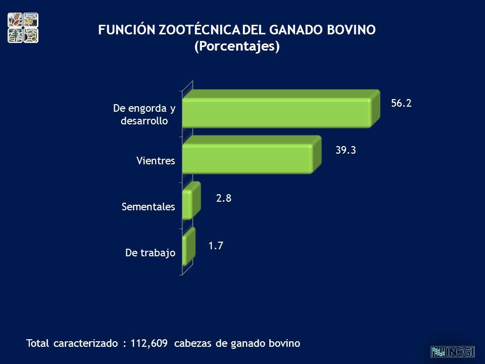 FUNCIÓN ZOOTÉCNICA DEL GANADO BOVINO (Porcentajes) Total caracterizado : 112,609 cabezas de ganado bovino