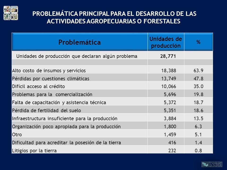 Problemática Unidades de producción % Unidades de producción que declaran algún problema28,771 Alto costo de insumos y servicios18,38863.9 Pérdidas po