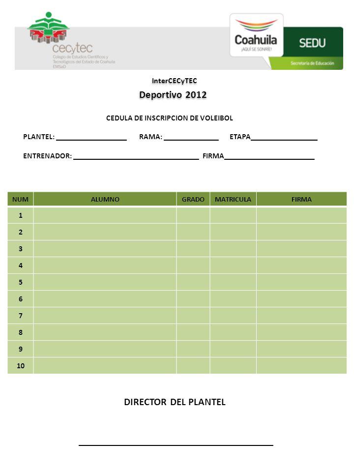DIRECTOR DEL PLANTEL _________________________________ COLEGIO DE ESTUDIOS CIENTÍFICOS Y TECNOLÓGICOS DEL ESTADO DE COAHUILA NUMALUMNOGRADOMATRICULAFI