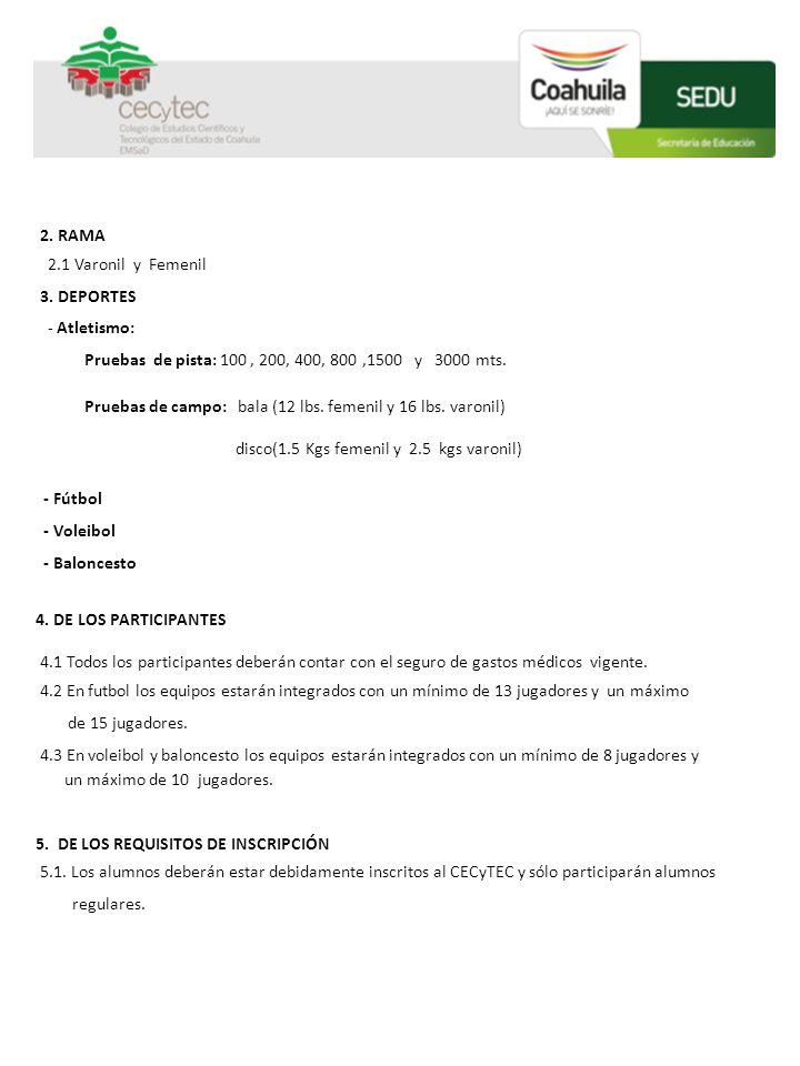 2. RAMA 2.1 Varonil y Femenil 3. DEPORTES - Atletismo: Pruebas de pista: 100, 200, 400, 800,1500 y 3000 mts. Pruebas de campo: bala (12 lbs. femenil y