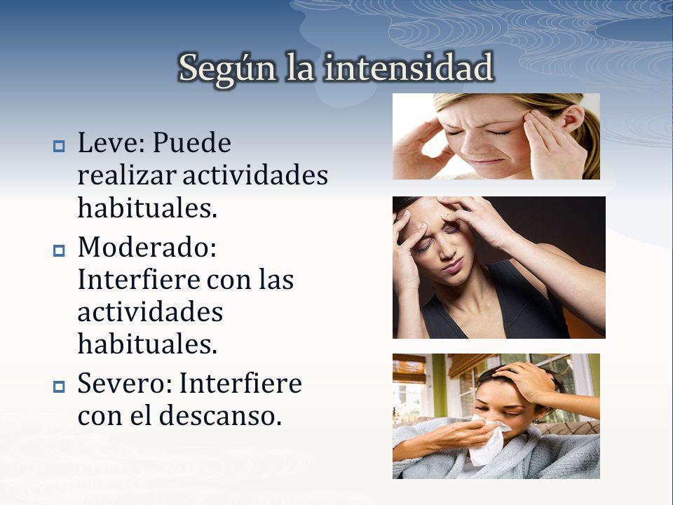 Leve: Puede realizar actividades habituales. Moderado: Interfiere con las actividades habituales. Severo: Interfiere con el descanso.