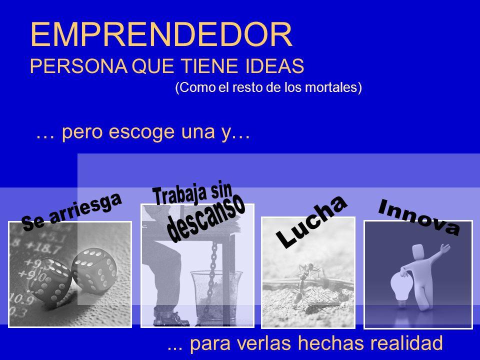 EMPRENDEDOR PERSONA QUE TIENE IDEAS... para verlas hechas realidad (Como el resto de los mortales) … pero escoge una y…