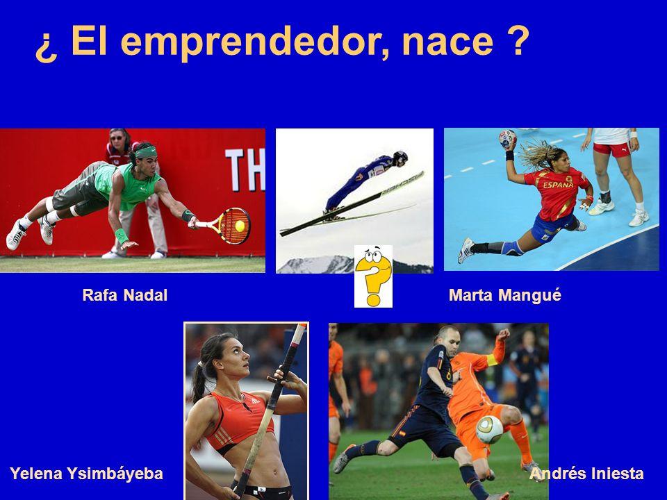 ¿ El emprendedor, nace ? Marta ManguéRafa Nadal Andrés IniestaYelena Ysimbáyeba