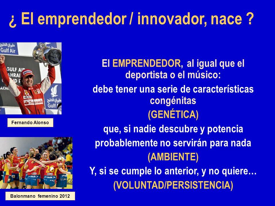 ¿ El emprendedor / innovador, nace ? El EMPRENDEDOR, al igual que el deportista o el músico: debe tener una serie de características congénitas (GENÉT