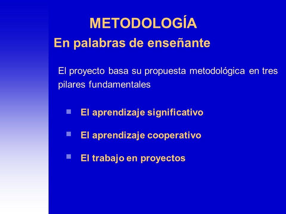 El proyecto basa su propuesta metodológica en tres pilares fundamentales En palabras de enseñante El aprendizaje significativo El aprendizaje cooperat