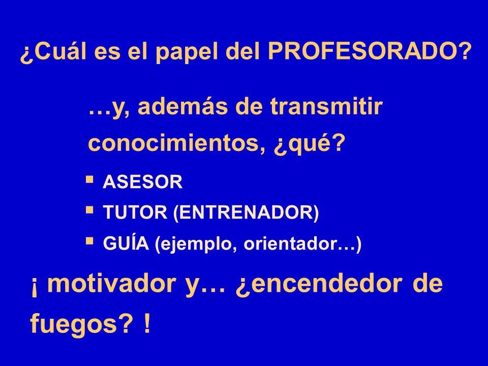…y, además de transmitir conocimientos, ¿qué? ASESOR TUTOR (ENTRENADOR) GUÍA (ejemplo, orientador…) ¡ motivador y… ¿encendedor de fuegos? ! ¿Cuál es e