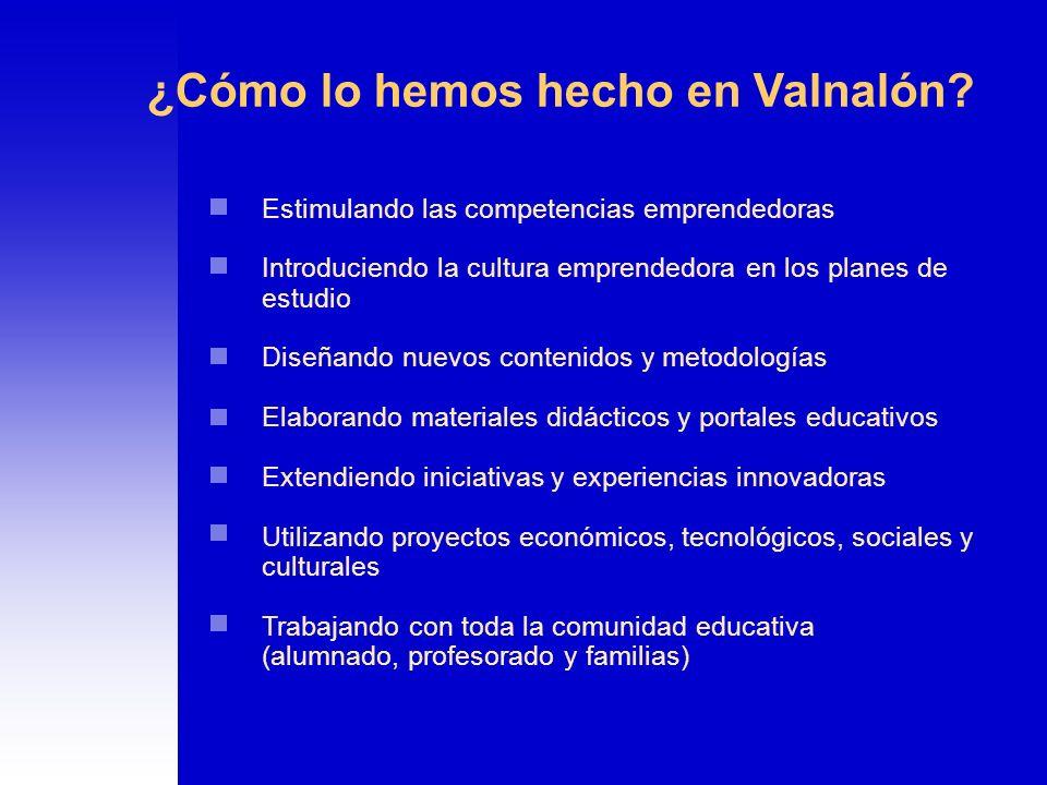 ¿Cómo lo hemos hecho en Valnalón? Estimulando las competencias emprendedoras Introduciendo la cultura emprendedora en los planes de estudio Diseñando