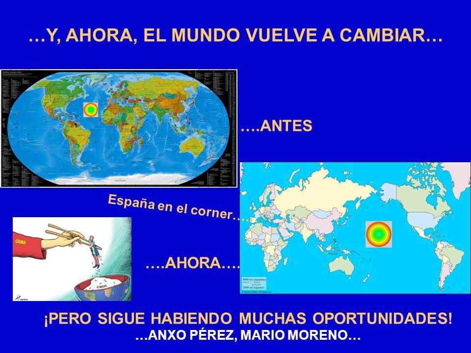 …Y, AHORA, EL MUNDO VUELVE A CAMBIAR… ….ANTES ….AHORA…. ¡PERO SIGUE HABIENDO MUCHAS OPORTUNIDADES! …ANXO PÉREZ, MARIO MORENO… España en el corner……