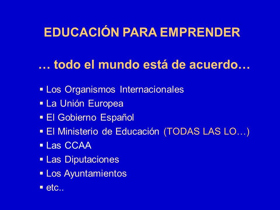 … todo el mundo está de acuerdo… Los Organismos Internacionales La Unión Europea El Gobierno Español El Ministerio de Educación (TODAS LAS LO…) Las CC