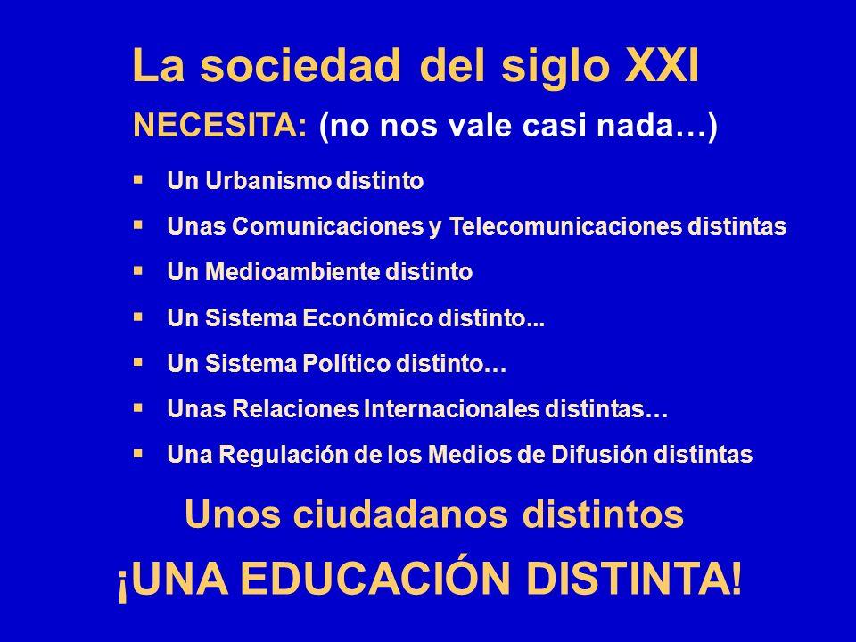 La sociedad del siglo XXI Un Urbanismo distinto Unas Comunicaciones y Telecomunicaciones distintas Un Medioambiente distinto Un Sistema Económico dist