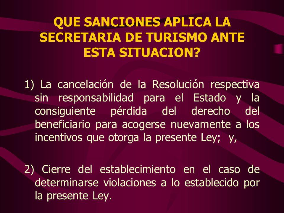 QUE SANCIONES APLICA LA SECRETARIA DE TURISMO ANTE ESTA SITUACION? 1) La cancelación de la Resolución respectiva sin responsabilidad para el Estado y