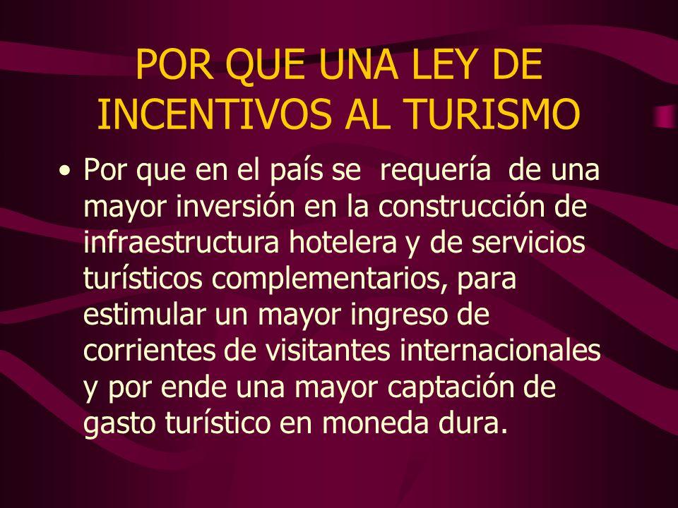 POR QUE UNA LEY DE INCENTIVOS AL TURISMO Por que en el país se requería de una mayor inversión en la construcción de infraestructura hotelera y de ser