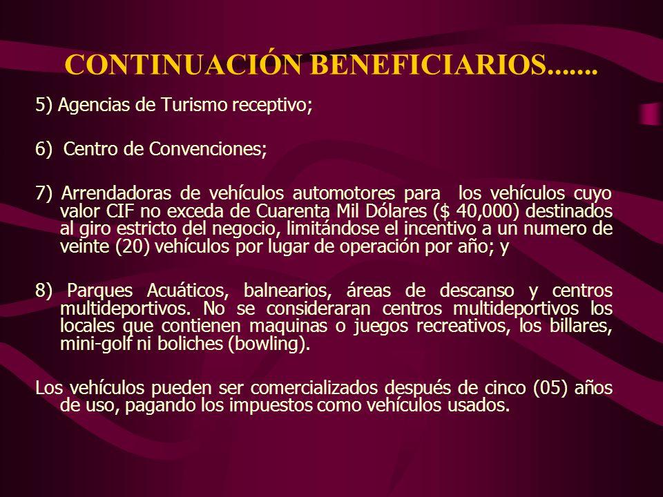 CONTINUACIÓN BENEFICIARIOS....... 5) Agencias de Turismo receptivo; 6) Centro de Convenciones; 7) Arrendadoras de vehículos automotores para los vehíc