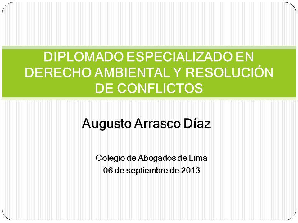 Augusto Arrasco Díaz DIPLOMADO ESPECIALIZADO EN DERECHO AMBIENTAL Y RESOLUCIÓN DE CONFLICTOS Colegio de Abogados de Lima 06 de septiembre de 2013