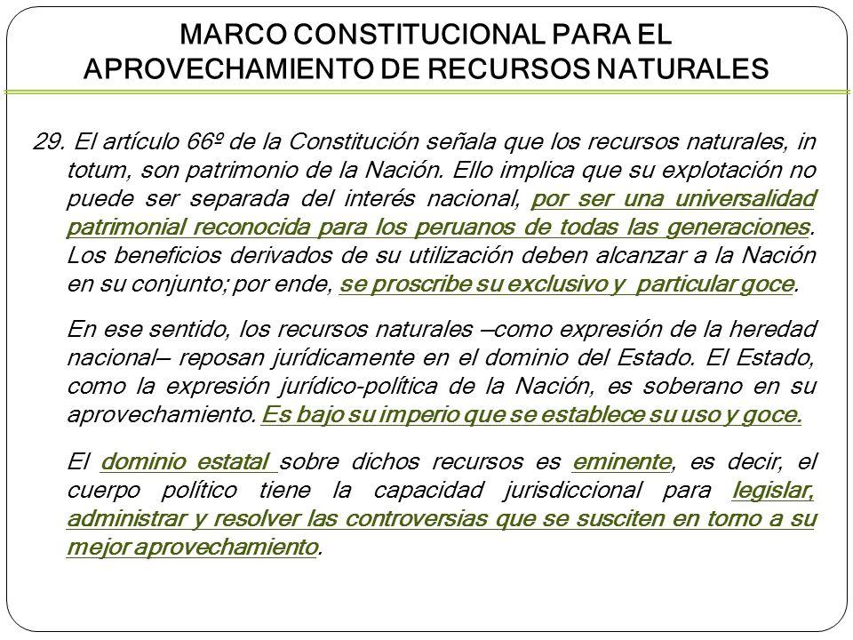 29. El artículo 66º de la Constitución señala que los recursos naturales, in totum, son patrimonio de la Nación. Ello implica que su explotación no pu