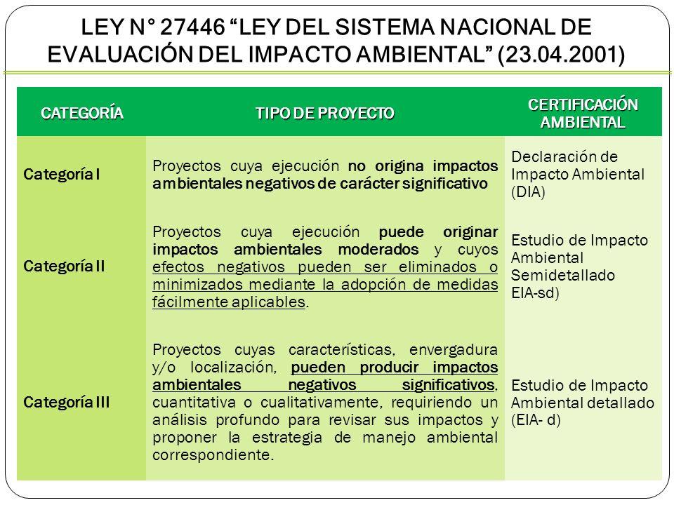 CATEGORÍA TIPO DE PROYECTO CERTIFICACIÓN AMBIENTAL Categoría I Proyectos cuya ejecución no origina impactos ambientales negativos de carácter signific