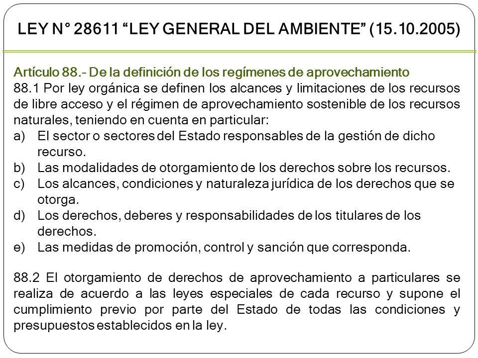 Artículo 88.- De la definición de los regímenes de aprovechamiento 88.3 Son características y condiciones intrínsecas a los derechos de aprovechamiento sostenible, y como tales deben ser respetadas en las leyes especiales: a)Utilización del recurso de acuerdo al título otorgado.