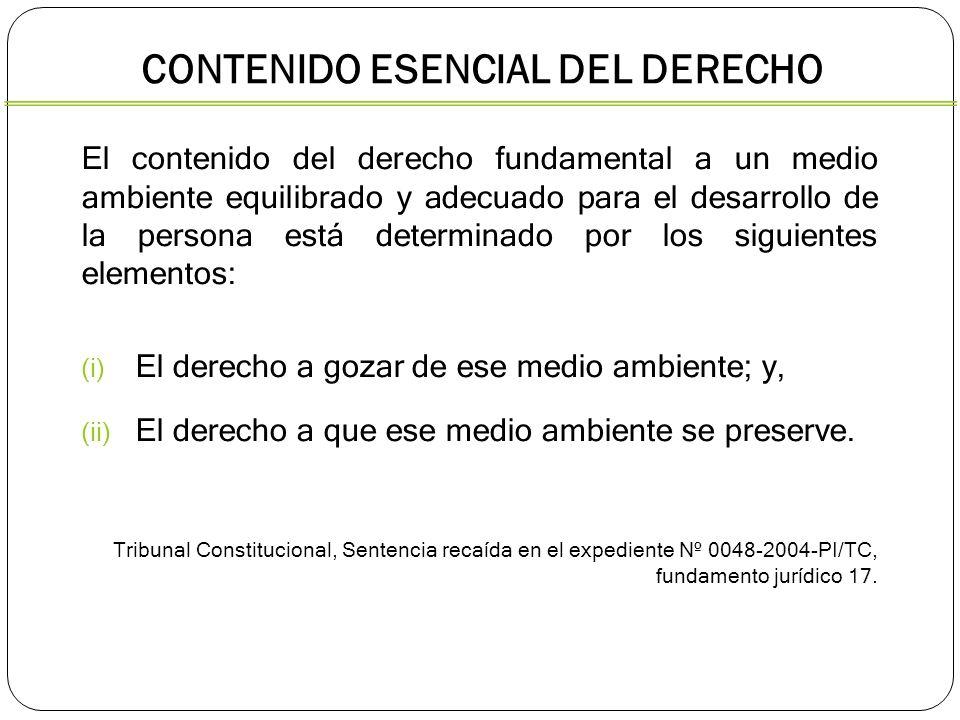 CONTENIDO ESENCIAL DEL DERECHO El contenido del derecho fundamental a un medio ambiente equilibrado y adecuado para el desarrollo de la persona está d