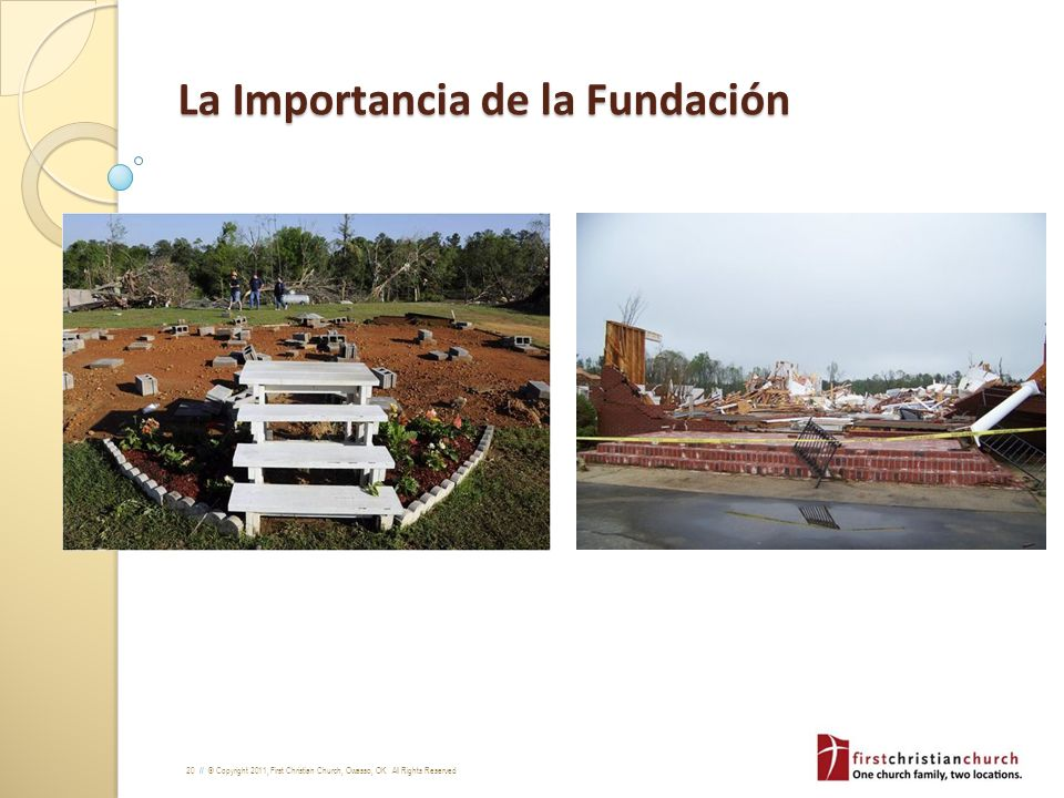 20 // © Copyright 2011, First Christian Church, Owasso, OK. All Rights Reserved La Importancia de la Fundación