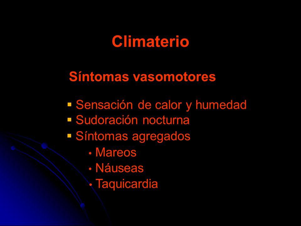 Síntomas vasomotores Climaterio Sensación de calor y humedad Sudoración nocturna Síntomas agregados Mareos Taquicardia Náuseas