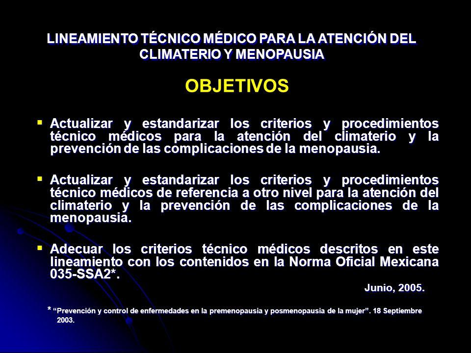 Junio, 2005. OBJETIVOS Actualizar y estandarizar los criterios y procedimientos técnico médicos para la atención del climaterio y la prevención de las