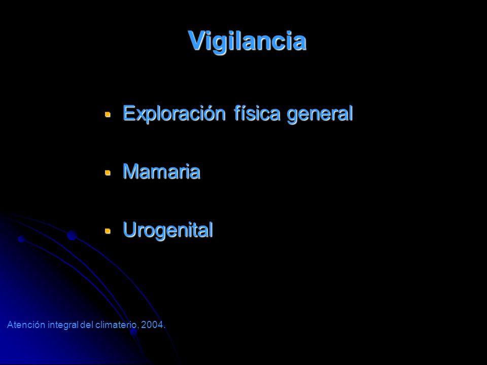 Vigilancia Vigilancia Exploración física general Exploración física general Mamaria Mamaria Urogenital Urogenital Atención integral del climaterio, 20