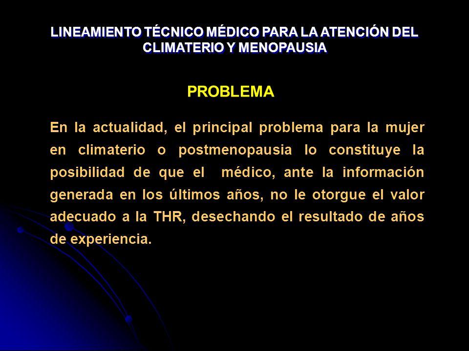 En la actualidad, el principal problema para la mujer en climaterio o postmenopausia lo constituye la posibilidad de que el médico, ante la informació