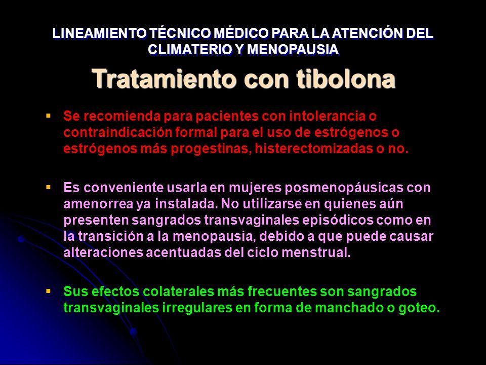 Tratamiento con tibolona Se recomienda para pacientes con intolerancia o contraindicación formal para el uso de estrógenos o estrógenos más progestina