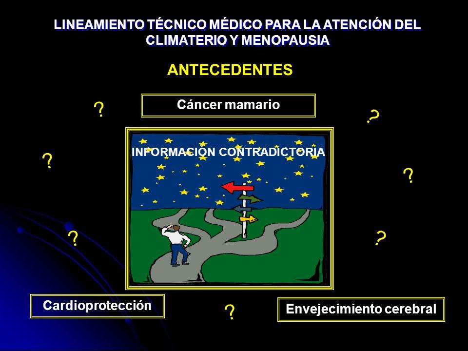 Cardioprotección Cáncer mamario Envejecimiento cerebral ANTECEDENTES INFORMACIÓN CONTRADICTORIA ? ? ? ? ? ? ? LINEAMIENTO TÉCNICO MÉDICO PARA LA ATENC