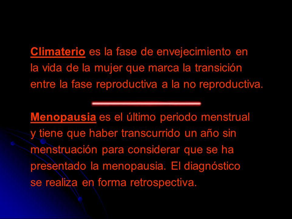 Climaterio es la fase de envejecimiento en la vida de la mujer que marca la transición entre la fase reproductiva a la no reproductiva. Menopausia es