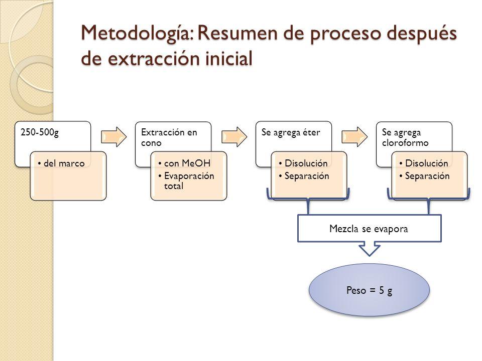Metodología: Resumen de proceso después de extracción inicial 250-500g del marco Extracción en cono con MeOH Evaporación total Se agrega éter Disoluci