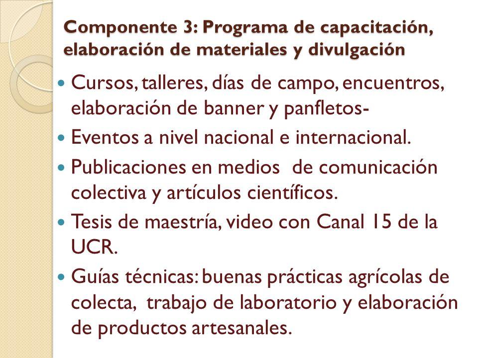 Componente 3: Programa de capacitación, elaboración de materiales y divulgación Cursos, talleres, días de campo, encuentros, elaboración de banner y p