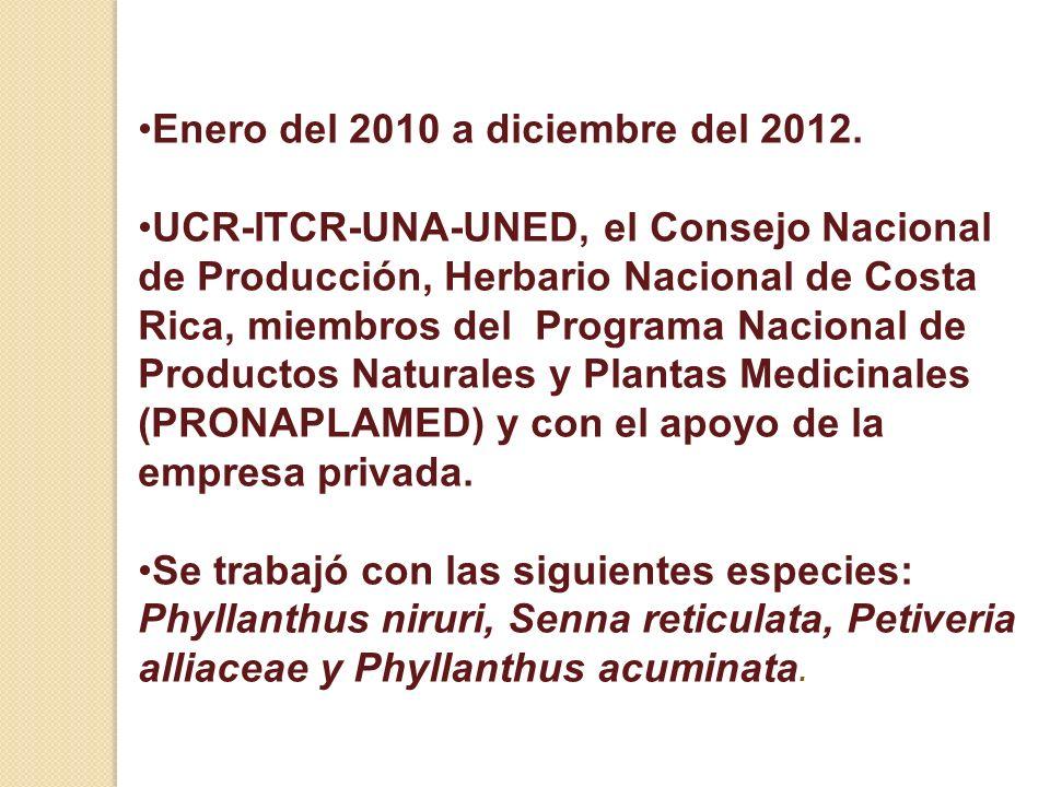 Enero del 2010 a diciembre del 2012. UCR-ITCR-UNA-UNED, el Consejo Nacional de Producción, Herbario Nacional de Costa Rica, miembros del Programa Naci