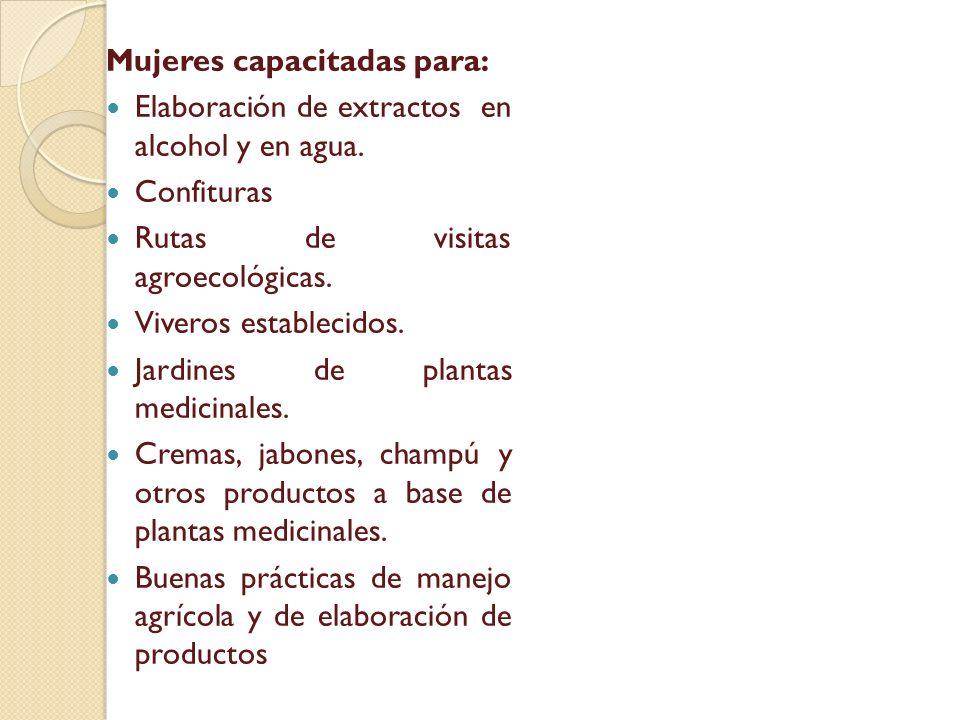 Mujeres capacitadas para: Elaboración de extractos en alcohol y en agua. Confituras Rutas de visitas agroecológicas. Viveros establecidos. Jardines de